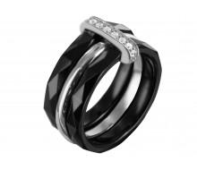 Bague Ceramic Black/EQ/CZ/Rhodium
