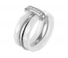 Bague Ceramic White/EQ/CZ/Rose Gold Plating/Silver